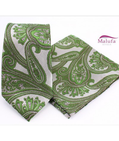Grisaceo Paisley Verde