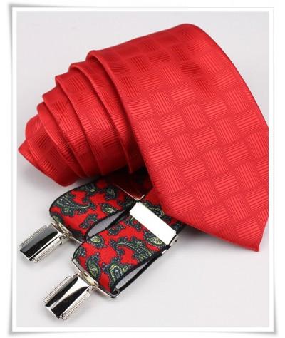 Corbata Roja con Tirante Paisley