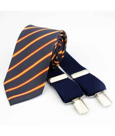 Corbata+Tirante azul liso